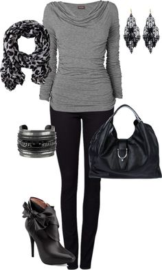 """grey shirt and jeans"" by missyalexandra on Polyvore"