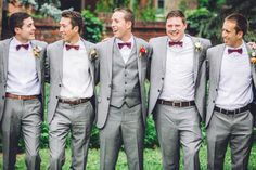 The maroon and grey combo works so well for groomsmen looks. // Erin L. Taylor Photography