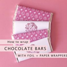 How to wrap chocolate bars in foil and printable paper wrappers. Wrappers are a great way to add customisation to party favours and tie a theme in. Here's a quick demo on how I put together my Love You Script chocolate bars for Valentines Day. Homemade Chocolate Bars, Homemade Toffee, Hershey Chocolate Bar, Chocolate Diy, Chocolate Bar Wrappers, Chocolate Favors, Chocolate Videos, Chocolate Packaging, How To Make Chocolate