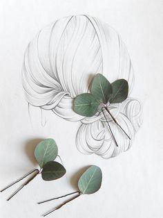 Eucalyptus leaf wedding hair pins Greenery hair piece Bridal hair vine Tropical wedding headpiece - New Site Wedding Hair Pins, Bridal Hair Vine, Wedding Makeup, Gift Wedding, Wedding Shoes, Wedding Rustic, Bridal Makeup, Wedding Tips, Wedding Dresses
