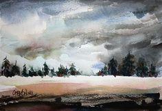 Stormy Skies landscape painting watercolour art print