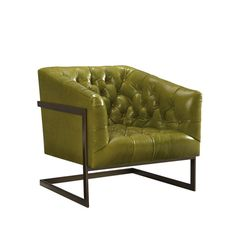 Tufted leather chair with Antique Brass Base, L1758-01, Lee Industries