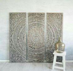 Marocko carved wood wall art