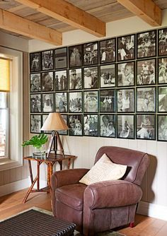 Family photo gallery for your den. More photos from this home: http://www.midwestliving.com/homes/featured-homes/house-tour-reinventing-history/