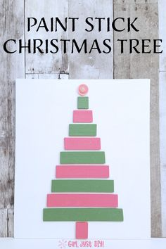 Make this a cute Christmas Tree Craft like this one with paint stir sticks. You can make this easy woodworking project with simple tools for a beautiful addition to your holiday decor. Stick Christmas Tree, Christmas Tree Crafts, All Things Christmas, Holiday Crafts, Christmas Decor, Christmas Ornaments, Paint Stir Sticks, Painted Sticks, Craft Stick Crafts