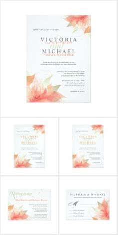 Abstract Floral Wedding Suite Abstract tangerine orange flowers on various paper choices with wispy green leaves and whimsical swirls border this beautiful wedding invitation set. Perfect for indoor and outdoor garden weddings in any season -- spring, summer, autumn, fall, and winter. Elegant semi-formal vintage text invitations, RSVP cards, table number cards, and thank you cards.