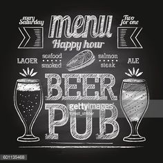 Chalk beer glass on blackboard