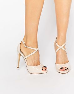 Lipsy | Lipsy Vernetta Nude Patent Cross Strap Heeled Sandals at ASOS