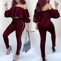 Ruffles Off Shoulder Side Stripes Skinny Pantsuit
