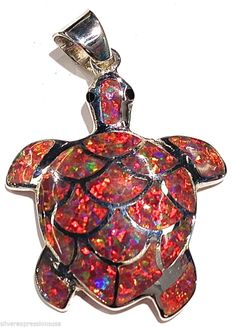 Red Fire Opal Inlay Solid 925 Sterling Silver Turtle Pendant For Necklace