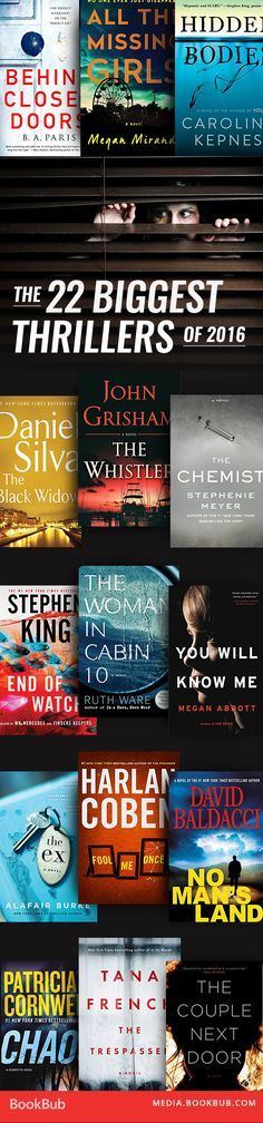 The biggest thriller books to read from the past year. Includes top psychological thriller books and titles from John Grisham, Stephenie Meyer, and Stephen King.