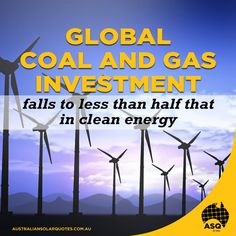 2015 was a record year for #CleanEnergy as global investment in #coal and gas-fired power generation plants fell to less than half that in renewable energy generation last year | http://asq.site/g921n