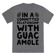 "Share your single status and love for guacamole with this food humor, relationship status design featuring the text ""In A Committed Relationship With Guacamole"" with avocados! Perfect for food jokes, guacamole jokes, single humor, and single jokes!"