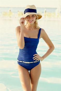 Cute one piece blue swimsuit