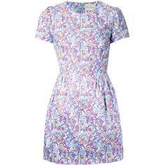 Mary Katrantzou Liv Dress (€890) ❤ liked on Polyvore featuring dresses, mary katrantzou, blue, skater skirt, patterned skater skirt, pattern dress, circle skirt and print skater skirt