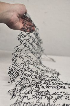 handwriting art - scan it, have a machine cut it out of metal - could do wedding vows?