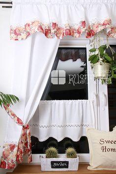 Firana roletka z bawełny i tiulu curtain, rideaux, curtains shabby chic, rustyka.pl