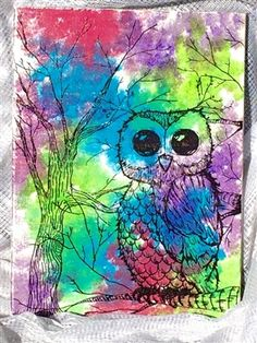 flight of color owl -12x16 canvas  available now - www.sibellejewelry.etsy.com