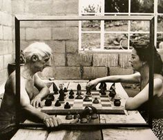 Max Ernst and Dorothea Tanning   in Sedona, Arizona   1948      Max Ernst working, sans shirt, on his murals   for theCorso Bar.   Zuric...