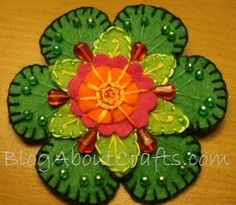My first embroidered felt flower pin.