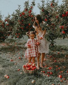 Cute family photo shoot ideas revolve around an activity, like picking apples together in the fall. Find more activity based family photo shoot inspiration here for likes pictures Family Photo Shoot Ideas