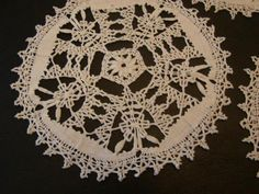 Antique Maltese Lace Linen Doilies Set of Five
