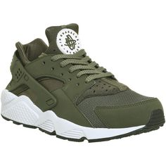 Nike Air Huarache Trainers Cargo Khaki White ( 125) ❤ liked on Polyvore  featuring shoes a629269389a5
