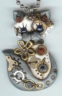 Steampunk Siamese Himalayan Cat Necklace Polymer Clay Jewelry via Etsy