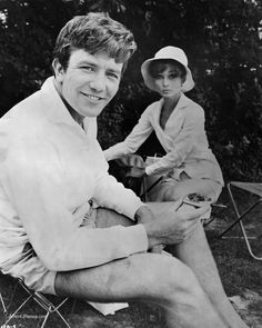 Audrey Hepburn and Albert Finney on the set of Two for the Road, 1967.