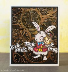 Inspired by the new 'Alice through the looking glass' movie. Embossed background, lovely White Rabbit stamp by Visible Image.