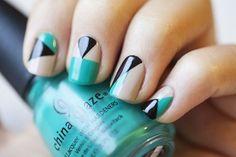 Nude Mint Black Geometric Nail Design