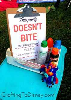 Crafting To Disney: Whatever Wednesday- Big Hero Six Outdoor Movie Night Party- bug spray sign