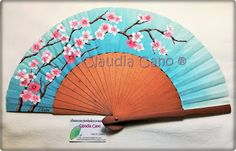 Abanicos pintados a mano por Claudia Cano Hair Pins, Projects, Inspiration, Hand Fans, Canoe, Cotton Canvas, Accessories, Cherry Blossom Branches, Painted Fan