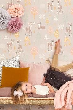 White wallcovering with houses and town in soft black color Wood Wallpaper, Wallpaper Paste, Kids Wallpaper, Wallpaper Childrens Room, Easy Up, Nursery Twins, Nursery Ideas, Modern Kitchen Design, Pierre Frey