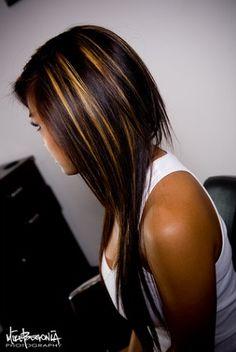Dark hair with highlight