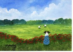 Australian Shepherd Dog Folk Art PRINT by Todd Young painting Summer Meadow