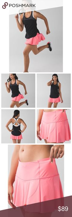 Lululemon Hit Your Stride Skirt-Pink Lemonade, 4 Lululemon Hit Your Stride Skirt-Pink Lemonade, Size 4  Lulu Hit Your Stride skirt in Pink Lemonade. This skirt is both cute and practical with shorts underneath and multiple pockets (two external waistband pockets and two pockets on the shorts underneath). There is also an inner waistband drawcord. Release date Jan. 2016. Fab like-new condition! ☺  Length-12 inches Waist- 27 inches (13.5 inches across) lululemon athletica Skirts