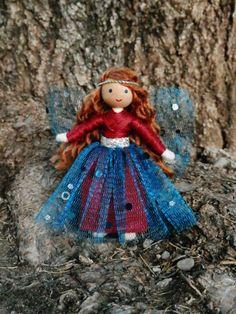 Blue Sparkle Fairy Waldorf Flower Fairy by WildflowerInnocence