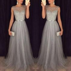 Elegant Sequins Patchwork Mesh Gown Dress