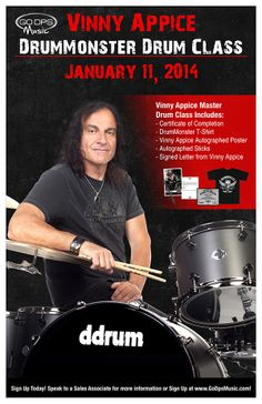 Legendary Vinny Appice Drummonster master class on 1/11/14 from 1-3pm. Great giveaways! Starting at $24.98 #vinnyappice #class