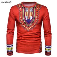 New Arrival Men's Casual African Print O Neck Pullover Long Sleeved T-shirt Top Blouse Heren casual blouse met Afrikaanse print African Men Fashion, Mens Fashion, Fashion Top, Dashiki For Men, Hooded Long Sleeve Shirt, Clothes 2019, Men Clothes, Discount Mens Clothing, Fashion Prints