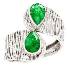 Emerald artisan crafted Solid Sterling Silver Wrap Ring. DETAILS: * Emerald Ring * Size 7.5 - 9.5 gentle movement * 6.3 g total weight * Set in SOLID .925 Sterling Silver * Stamped .925 * Measures app