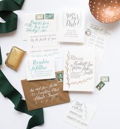 Say hello to The Peace suite! We're always suckers for calligraphy  letterpress  foil.  Added bonus were matching vintage stamps!