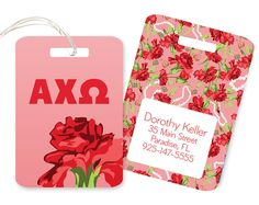 AXO Alpha Chi Omega Floral Personalized Luggage Bag Tag Sorority  ΑΧΩ Alpha Chi Omega AXO Lyre Red carnation Denton County Chapter Alumnae Greek Sorority