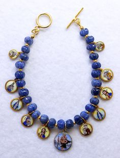 Sapphire & Vermeil Bracelet w 11 Vintage Enameled Painted Miniature Religious Medals Rosary Prayer, Round Beads, Bracelet Making, Sapphire, Enamel, Miniatures, Sterling Silver, Bracelets, Gold