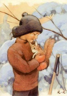 A friend. by artist Rudolf Koivu -- (winter, illustration, art, boy, squirrel) Art And Illustration, Christmas Illustration, Vintage Illustrations, Inspiration Art, Vintage Christmas Cards, Vintage Children, Childrens Books, Illustrators, Book Art