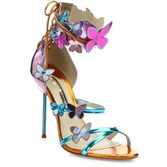 Sophia Webster Harmony Metallic Leather Butterfly Sandals (3.325 RON) ❤ liked on Polyvore featuring shoes, sandals, apparel & accessories, rosa, open toe shoes, sophia webster shoes, metallic sandals, lace up shoes and heeled sandals