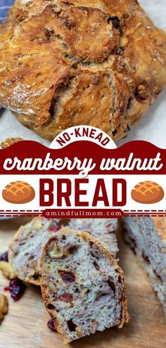 Give this homemade bread recipe a try! Studded with dried cranberries and walnuts, this no-knead dutch oven bread makes a killer french toast or the perfect base for breakfast casseroles and more. Save this pin! Breakfast Casserole With Biscuits, Easy Breakfast Casserole Recipes, Overnight Breakfast Casserole, Easy Bread Recipes, Healthy Breakfast Recipes, Yummy Recipes, Cranberry Walnut Bread, Dutch Oven Bread, Easy Family Meals