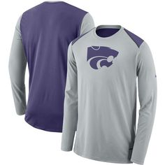 size 40 9deb8 f9e50 Kansas State Wildcats Nike Elite Basketball Performance Long Sleeve Shirt.  Gray, Sport Wear,