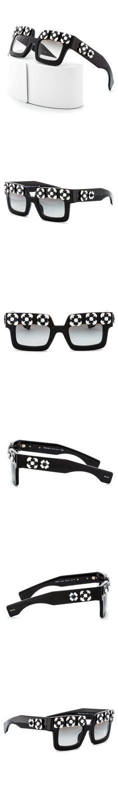 8155b3366ea76c  429 - Prada SPR 25PS 1AB0A7 Poeme Sunglasses Black and White, Black  Gradient Lenses